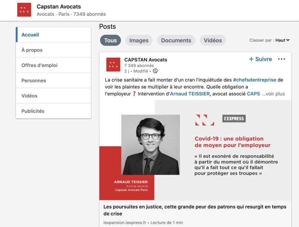 Cabinet Capstan Avocats et Linkedin